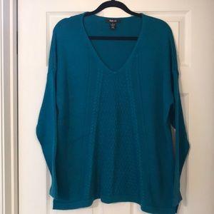 Style & Co long oversized v neck Turquoise sweater